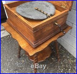 15 1/2 Regina Oak Double Comb Disc Music Box With Oak Stand