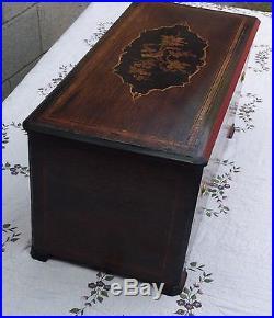 19th C. SWISS INLAID ROSEWOOD BREMOND REED ORGAN CYLINDER MUSIC BOX