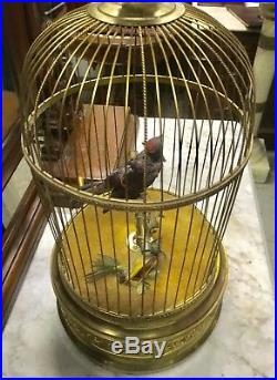 19th c. BONTEMS FRENCH AUTOMATON DOUBLE SINGING BIRD CAGE MUSIC BOX, 21 TALL