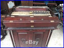 27 Regina Orchestral Mahogany Folding Top Disc Music Box With Original Cabinet