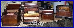 4 ANTIQUE HAND CRANK ROLLER ORGANs WITH extra rolls and cobbs