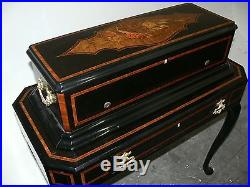 ANTIQUE LITH. J. DAJOZ SWISS MUSIC BOX With DRAWER STAND, With 3 (e) 14 CYLINDERS