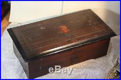 ANTIQUE VINTAGE 19th Century SWISS CYLINDER MUSIC BOX 8 Songs Wood Case Plays