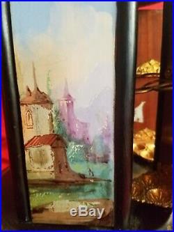 Airs, Swiss Antique Musical, Handpainted, Wooden Cigar Caddy