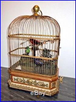Amazing Antique Automaton Representing 3 Whistling Birds Singing a Tune Rare