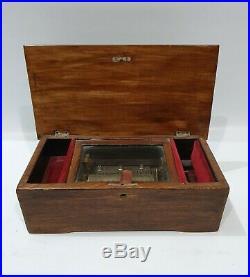 Antigua caja musical box a cilindro año 1870-1890 Cod 22895