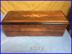 Antique 10 Song Cylinder Music Box. 20 + Long. (BIG). Marquetry. Works. 1800s
