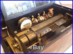 Antique 1885 Mermod Freres Cylinder Music Box W Organette Oriental Bells Drums