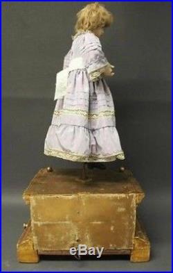 Antique 1890 french automaton wax doll mechanical music box
