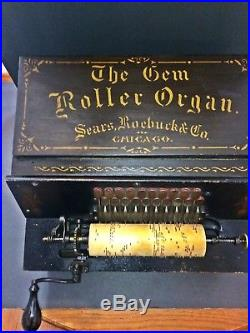 Antique 1901 Gem Roller Organ Hand Crank Music Box with40 Cobs Tested Exc Cond