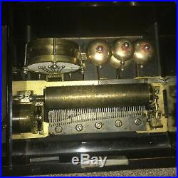 Antique 19th C. Swiss Bells and Drums Cylinder Music Box