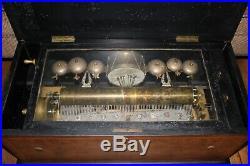Antique 19th Century 15 CYLINDER SWISS MUSIC ORCHESTRA BOX 6 BELLS & DRUM 27