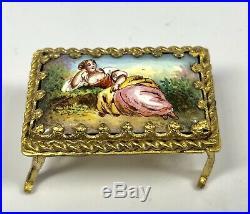Antique 19th Century Austrian Hand-Painted Enamel on Gilt Bronze Parlor Group