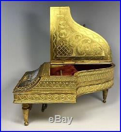 Antique 19th Century Austrian Hand-Painted Enamel on Gilt Bronze Piano Music Box