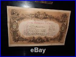Antique 19th Century Swiss Cylinder Music Box Wood Case Paillard (Plays 8 Songs)