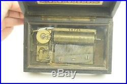Antique Burlwood Veneer Music Box Brass Movement 42 Note Working 4 Tune