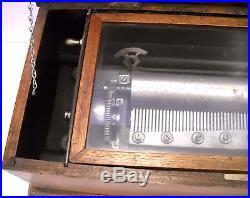 Antique Circa Swiss Cylinder Music Box 24 1/2 lb. 22 3/4'' x 11'' x 7'