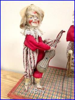 Antique Circus Clown Automaton Crank Music Box, Working, Museum Quality