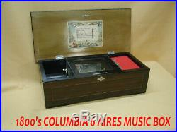 Antique Columbia Six Aires Music Box-works Good-nice One