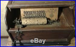 Antique Concert Roller Organ Hand Crank Organette w 12 Tune Cobs Phonograph