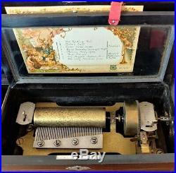 Antique Crank 6 Cylinder Music Box 8 airs (tunes) Signed Marque De Fabrique