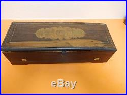 Antique Cylinder Music Box Inlaid Wood (See Video)