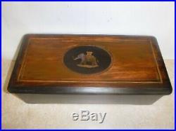 Antique Cylinder Swiss Type Music Box Case Elephant Inlay Parts Restoration