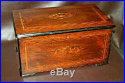 Antique FINE Swiss Inlaid Rosewood PVF St Croix 9-Bell Cylinder Music Box c 1890