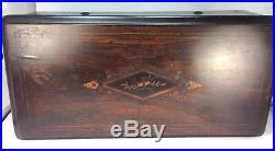 Antique Fabrique de Geneve 6 Tune Swiss Music Box Elegant Inlays Working Order