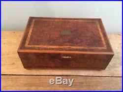 Antique French Burl Inlaid Wood Marquetry Music Jewelry Box Working HP Paris