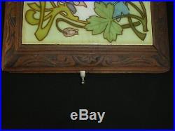 Antique French Longwy TRIVET MUSIC BOX. Art Deco Tile Floral Design. 2 airs 1872