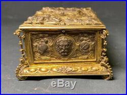 Antique German 800 Silver Swiss Repousse Gold Vermeil Bird Musical Box Automaton