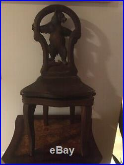 Antique Hand Carved Black Forrest Bear Child's Chair with Working Music Box