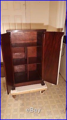 Antique Herzog Record Cabinet Mahogany Music Box Regina Victor Victrola Paw Feet