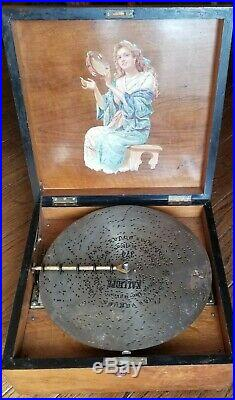 Antique Kalliope 13 1/4 Disc Music Box WITH BELLS hear it play