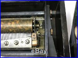 Antique Knusli Swiss 6 Tune Cylinder Inlaid Music Box 56 Teeth Plays Beautifully