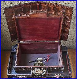 Antique Large Swiss Chalet Clock and Music Box c. 1880 Good Working Order