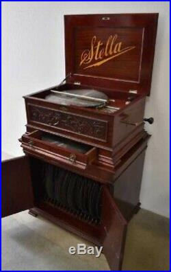 Antique Mahogany Stella Music Box with Stand & 63 Discs 19th Century WORKS