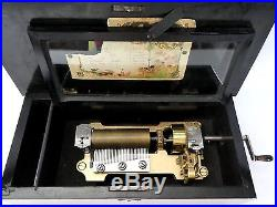 Antique Marque de Fabrique SWISS Cylinder MUSIC BOX. 6 airs. Orig Crank. Works Well