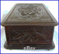 Antique Music Box Jewelry Box Black Forest Carved Walnut High Qual. C. 1880