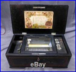 Antique Old Swiss Wood Case Brass Cylinder Roll Music Box Inlaid 6 Song 14 Inch