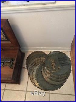 Antique POLYPHON Leipzig Germany 19th Century with 12 discs