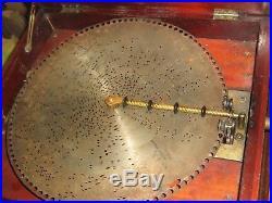 Antique REGINA 15 1/2 Disk Double Comb Music Box with 4 Disks, Beautiful Mahogany