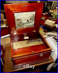 Antique REGINA 15 1/2 Disk Music Box with 44 Disks! Beautiful Mahogany