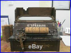 Antique Roller Organ Hand Crank Bellows Wind Music Box Corn Cob