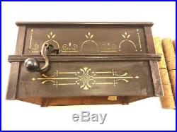 Antique Roller Organ Home Music Box, With 8 Cobs