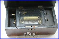 Antique SWISS Interchangeable Cylinder 6 airs (Tunes) Wooden MUSIC BOX NH5188