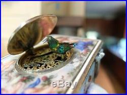 Antique Silver, Guilloche & Enamel Singing Bird Box Automaton (watch Video)