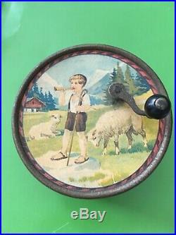Antique Small Swiss Childs Crank Manivelle Music Box, Boy, Sheep, Chalet, Rare