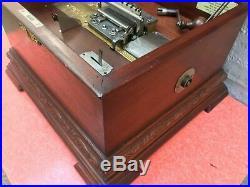 Antique Stella Mahogany Music Box c. 1890's 27 9.5 Discs